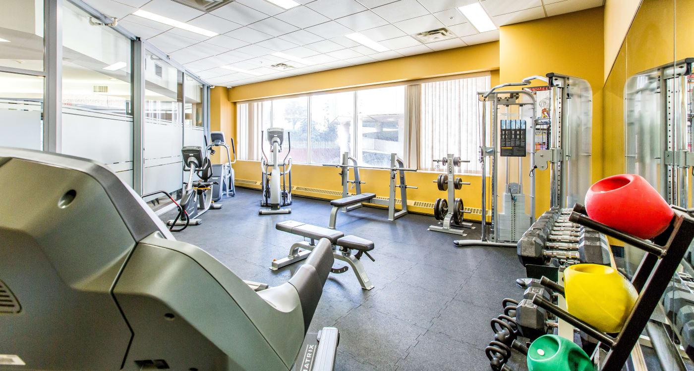 Modern fitness center at Park Square in Edmonton, Alberta