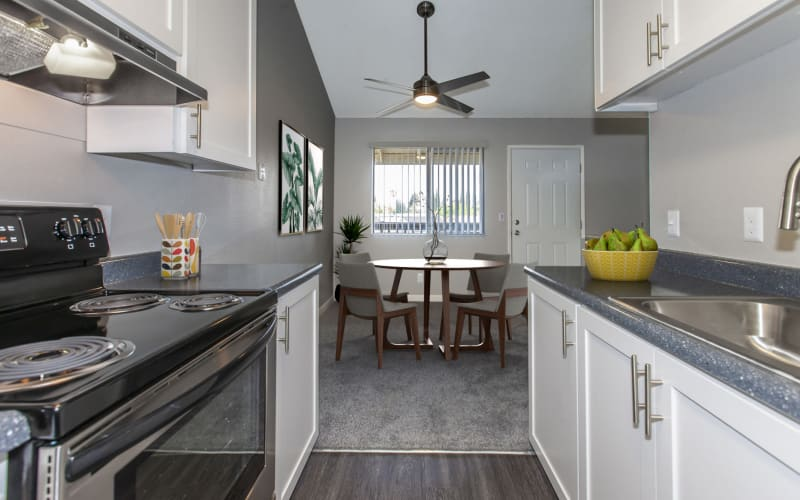 Stainless steel appliances in the fully equipped kitchens at Avery Park Apartments in Fairfield,