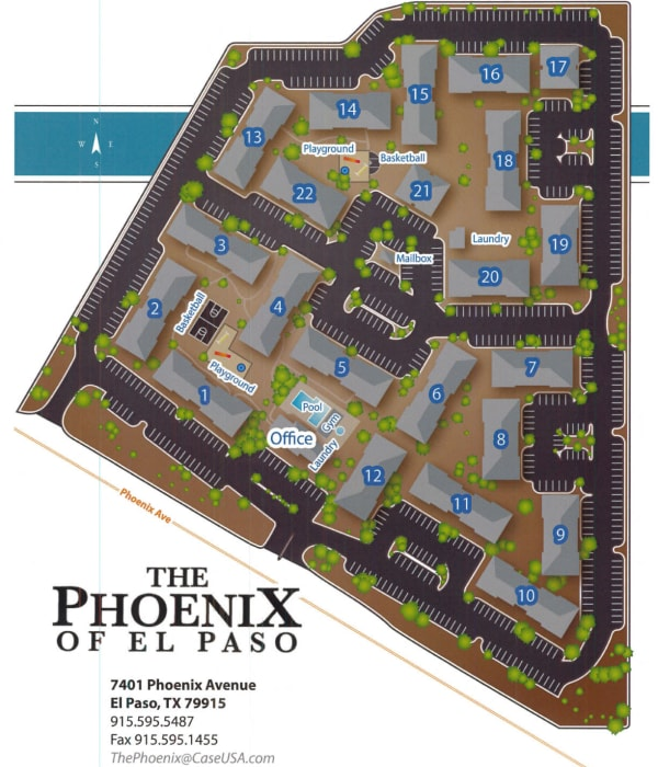 Site map for The Phoenix Apartments in El Paso, Texas