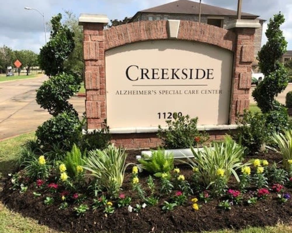 Signage at Creekside Alzheimer's Special Care Center in Pearland, Texas