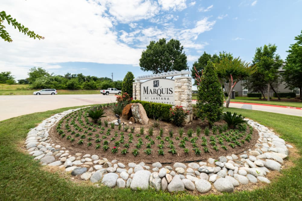 Property rock signage surrounded by plants at Marquis at Lantana in Flower Mound, Texas