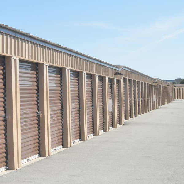 Outdoor storage units with drive-up access at StorQuest Self Storage in Palm Springs, California