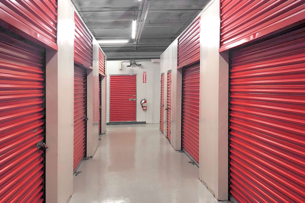 Indoor storage units at Prime Storage in Hyde Park, Massachusetts