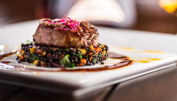 Ornate steak dish at The Springs at Lake Oswego in Lake Oswego, Oregon