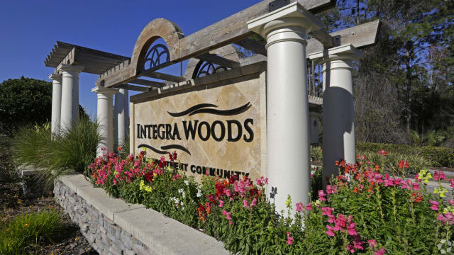 Welcome sign at Integra Woods in Palm Coast