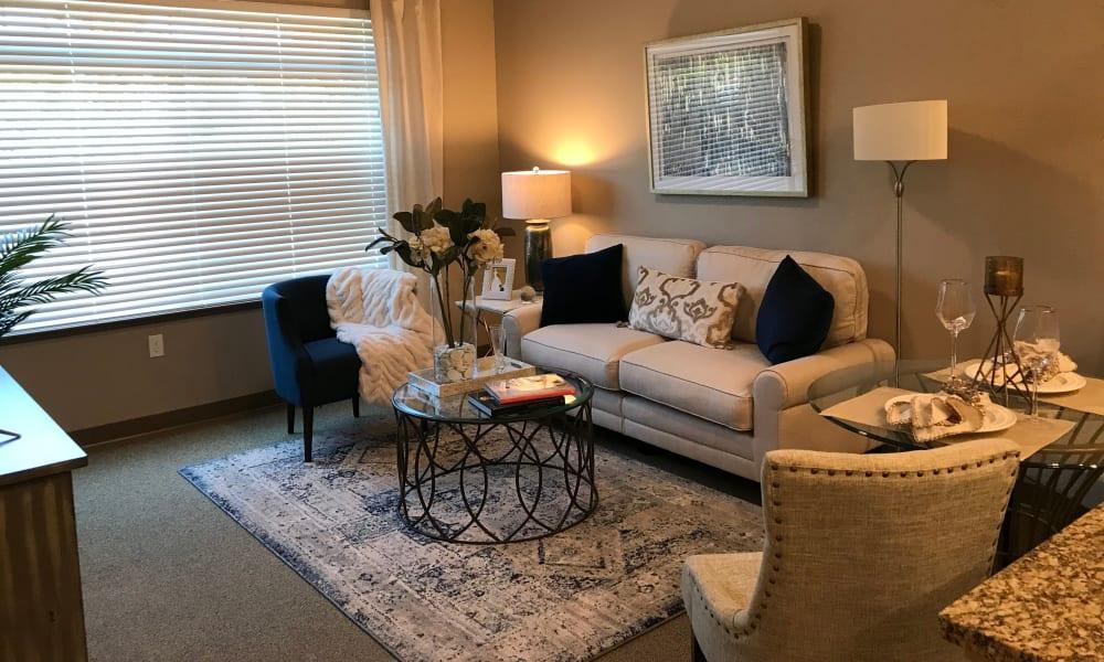 Studio apartment living room in Quail Park at Shannon Ranch in Visalia, California