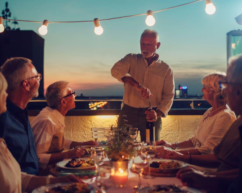 Senior Residents enjoying a dinner at The Vista in Esquimalt, British Columbia.