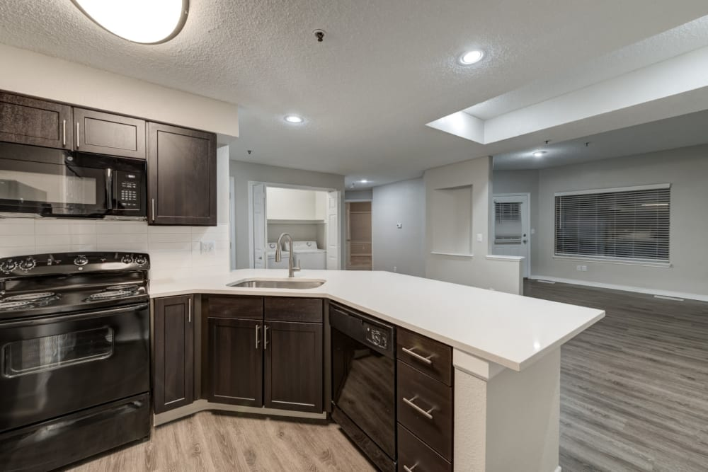 Oversized granite island offering ample counter and storage space at Ashford Belmar in Lakewood, Colorado