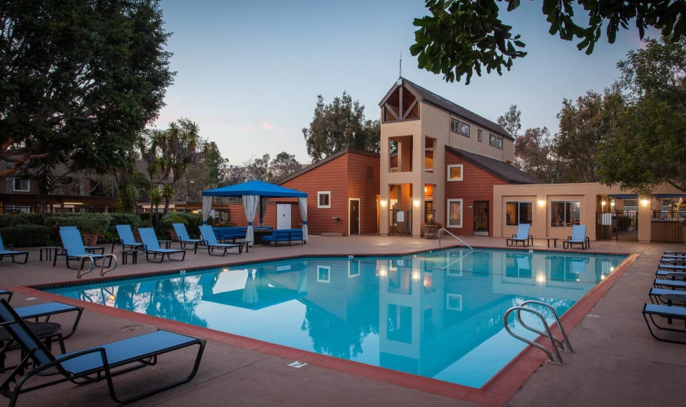 Swimming Pool at Dusk at Terra Nova Villas in Chula Vista, CA