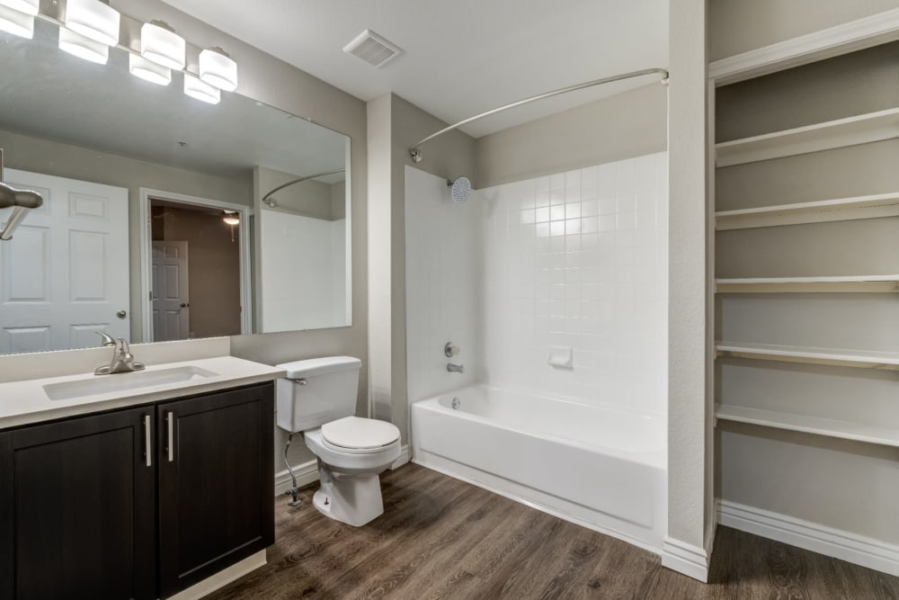 Large bathroom with high countertops, built-in shelving and storage space at Ashford Belmar in Lakewood, Colorado