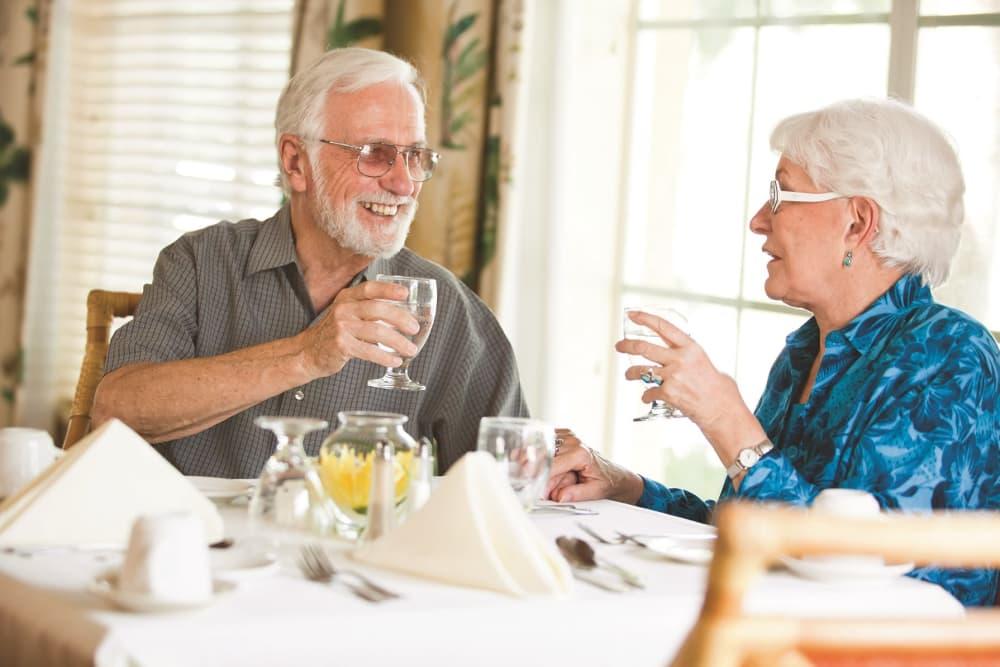 elderly couple having lunch in Bonita Springs
