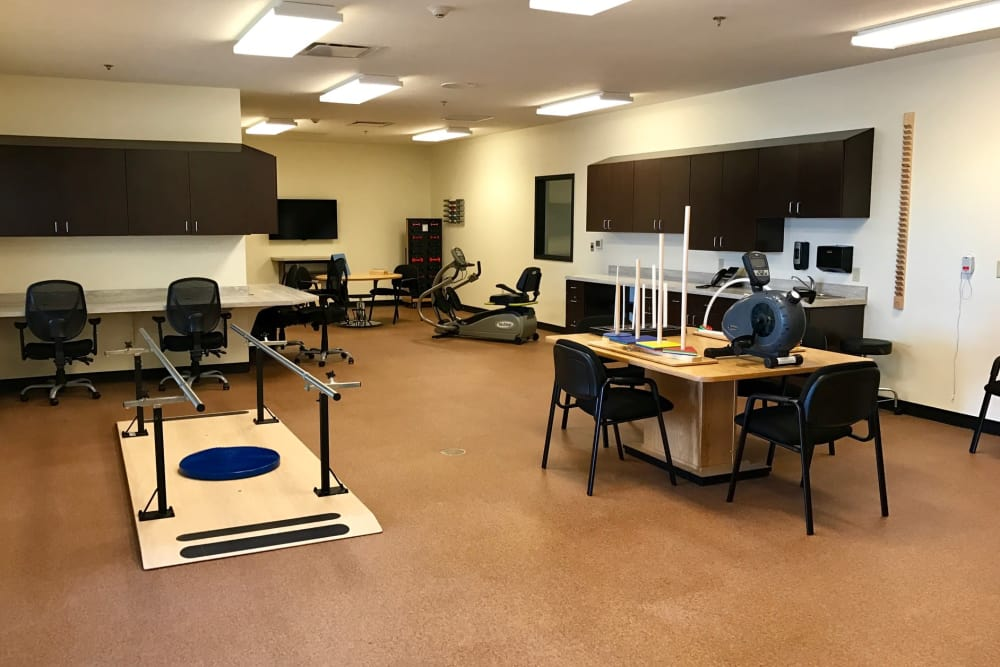 Therapy room with equipment at Valley View Health Campus in Fremont, Ohio