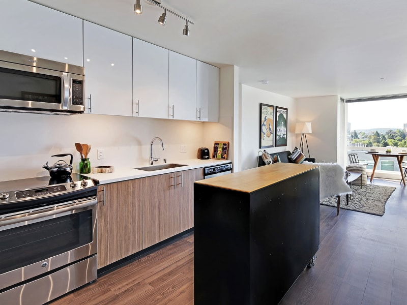 Luxury kitchen at Rooster Apartments in Seattle, Washington