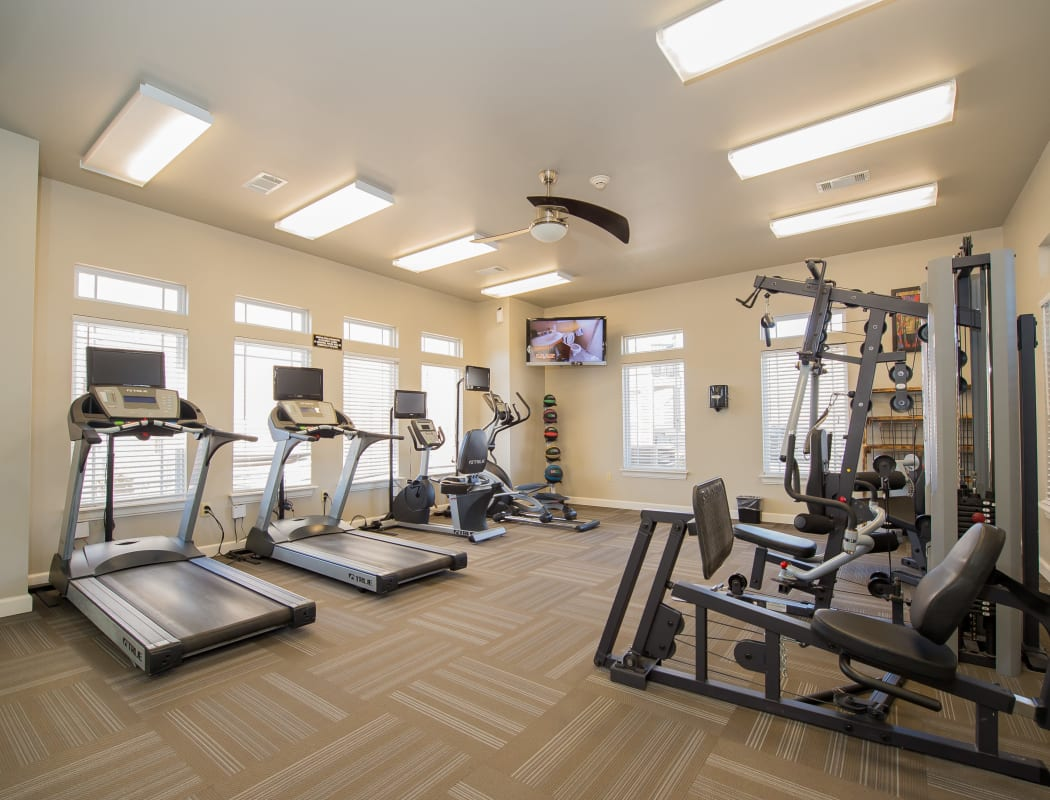 Fitness center at The Park on Westpointe in Yukon, Oklahoma