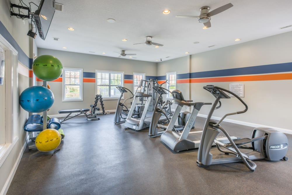 Spacious and well-equipped fitness center at The Avant at Steele Creek in Charlotte, North Carolina