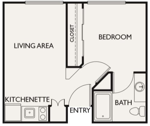 Independent Living One Bedroom I at Fairview Commons in Costa Mesa, California