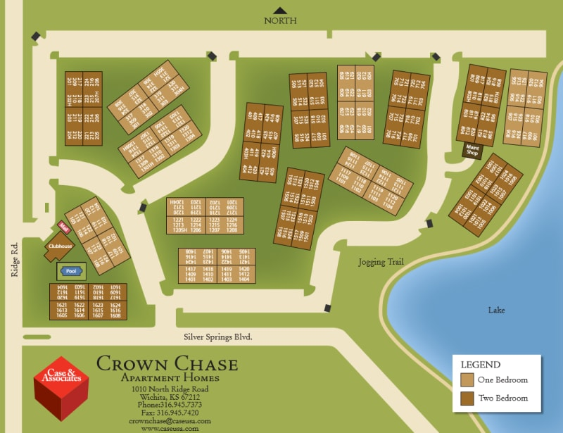 Site map for Crown Chase Apartments in Wichita, Kansas