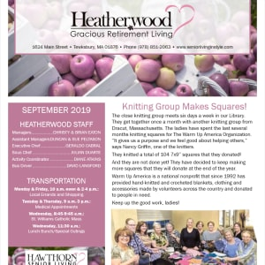 September Heatherwood Gracious Retirement Living newsletter