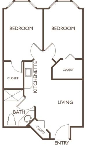 Assisted Living Two Bedroom at Hillcrest of Loveland in Loveland, Colorado