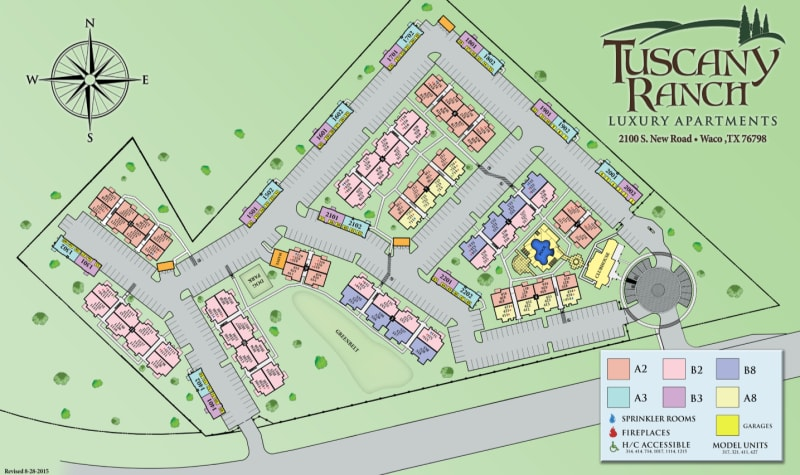 Site map for Tuscany Ranch in Waco, Texas