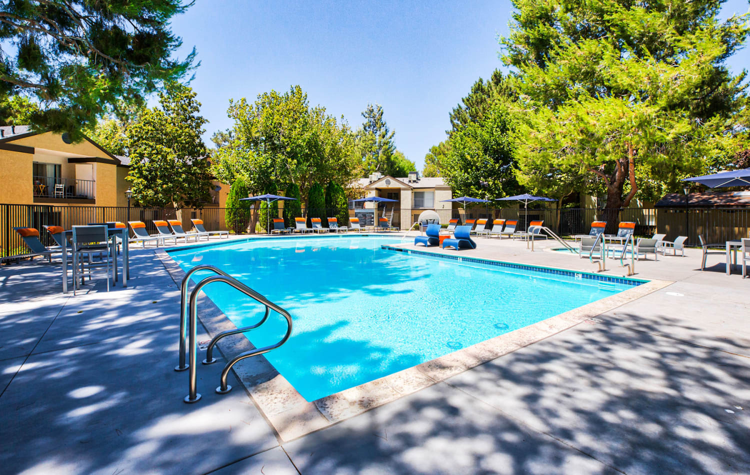 Resort-style swimming pool on a beautiful morning at Mountain Vista in Victorville, California
