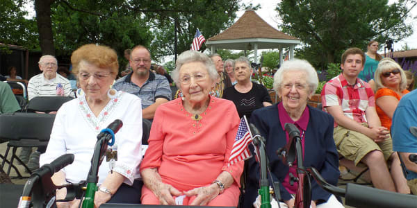Residents out and about at Cardinal Village in Sewell, New Jersey