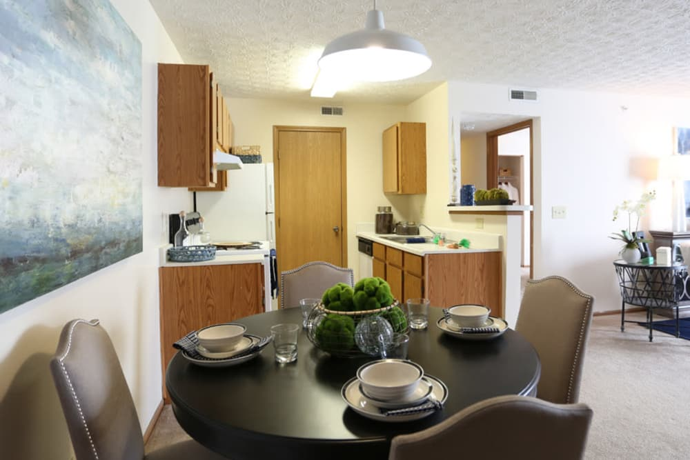 Our state-of-the-art apartments in Westerville, Ohio showcase a dining room