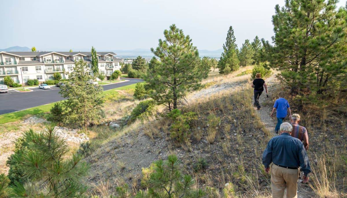 Residents on a hike near Touchmark on Saddle Drive in Helena, Montana