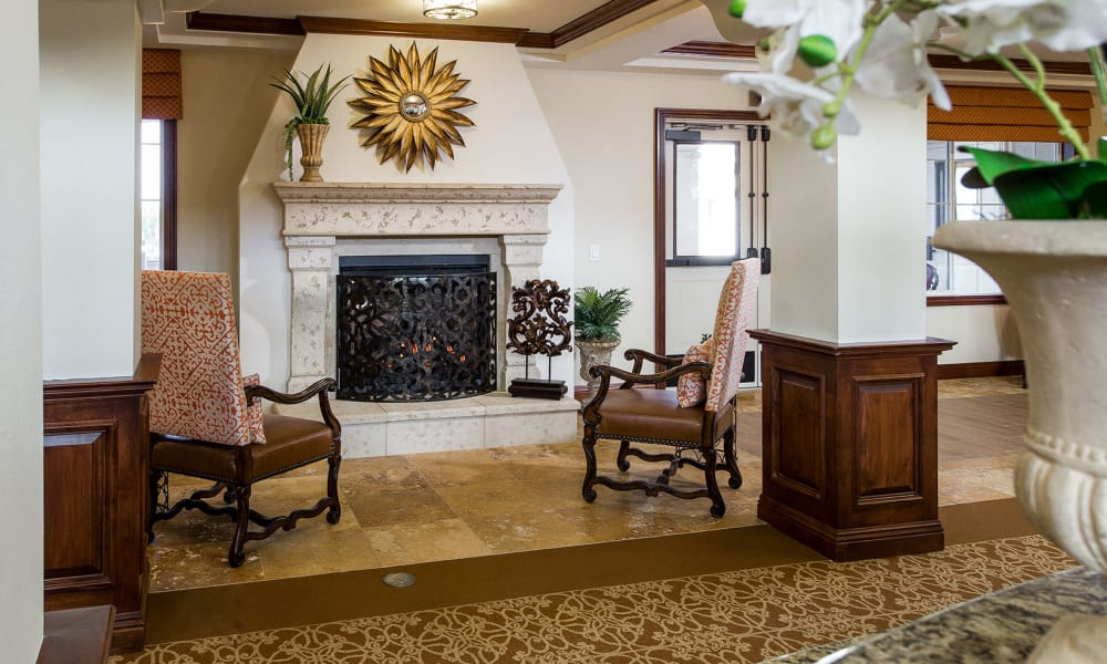 Fireplace at Estancia Del Sol in Corona, California