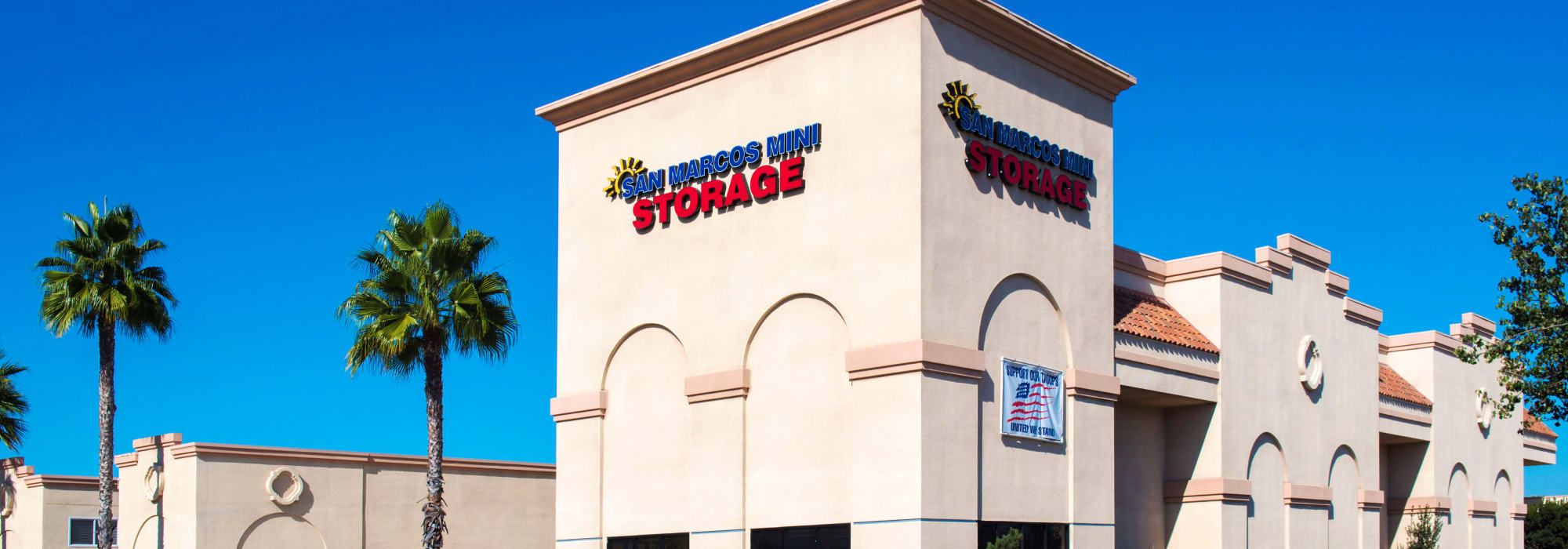 Branding on the exterior of San Marcos Mini Storage in San Marcos, California