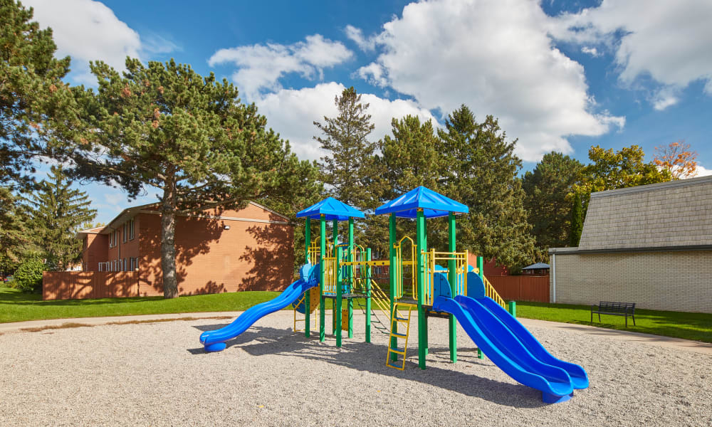 Modern playground at Georgian Court Estates in Burlington, Ontario