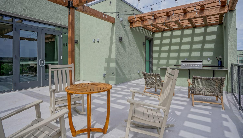 Comfortable patio seating at Capitol Flats in Santa Fe, New Mexico