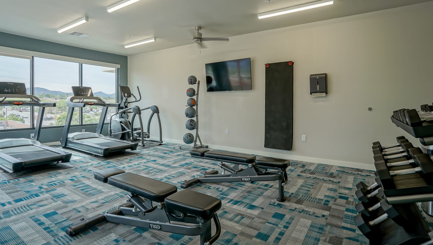 Well-equipped fitness center at Capitol Flats in Santa Fe, New Mexico