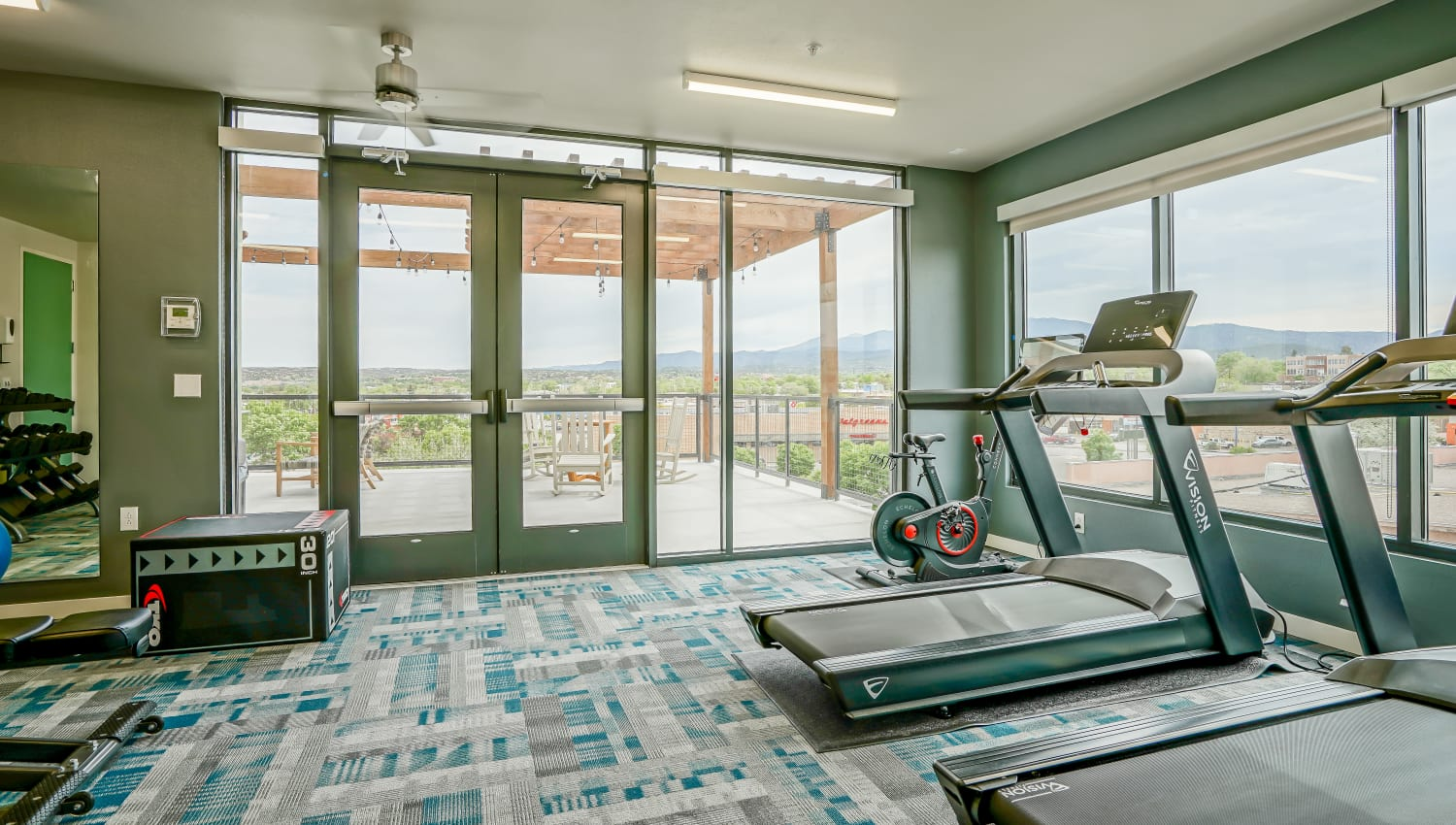 Spacious fitness center with treadmills at Capitol Flats in Santa Fe, New Mexico