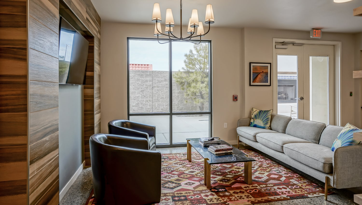 Comfortable resident lounge at Capitol Flats in Santa Fe, New Mexico