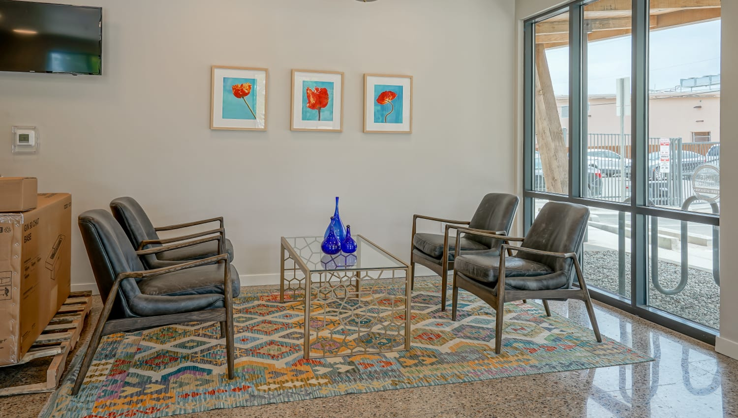 Seating in the lobby at Capitol Flats in Santa Fe, New Mexico