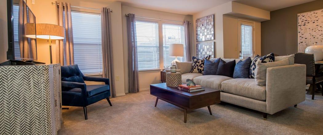 Spacious living room at Watercress Apartments in Maize, Kansas