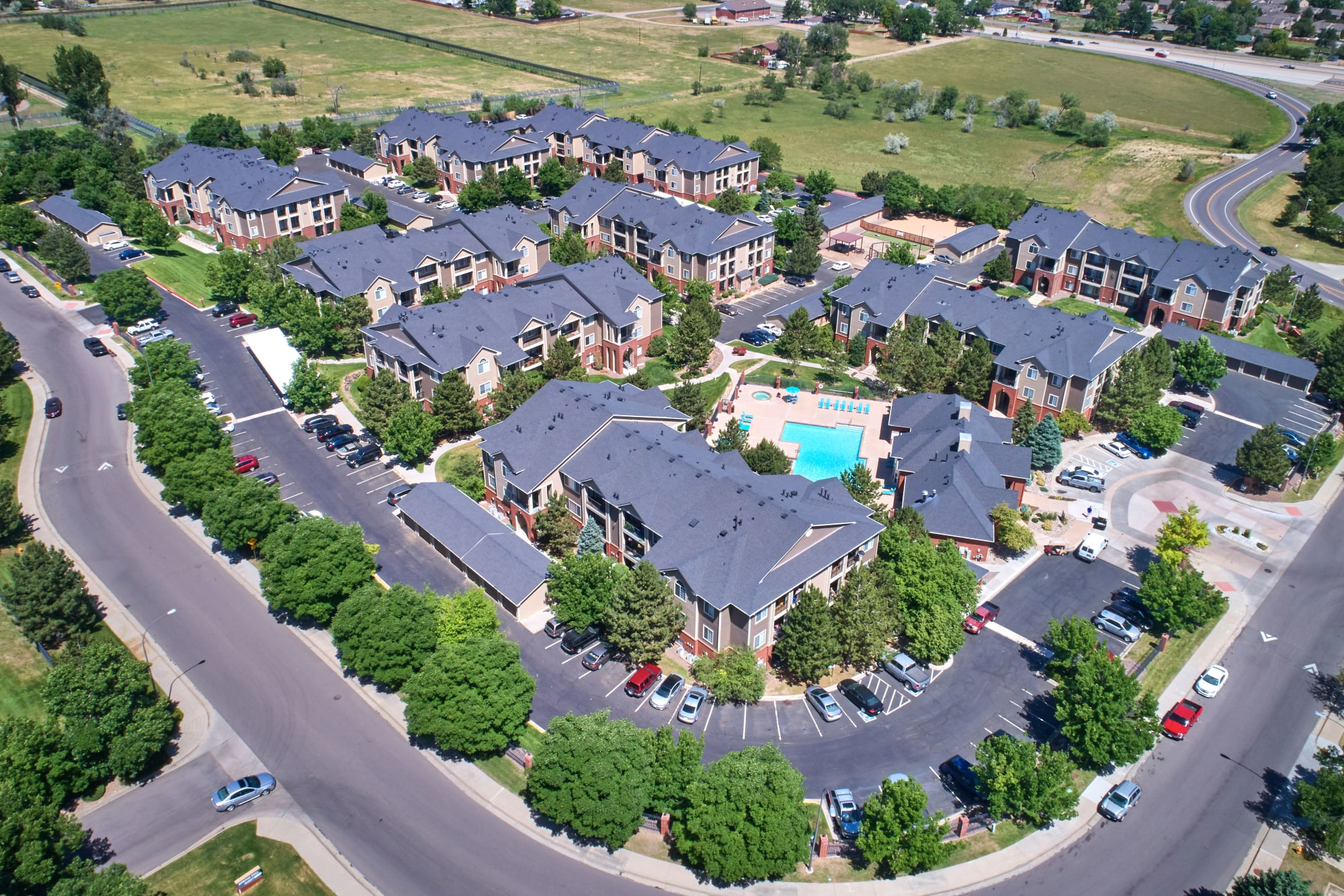 Aerial view of the property at Skyecrest Apartments in Lakewood, Colorado