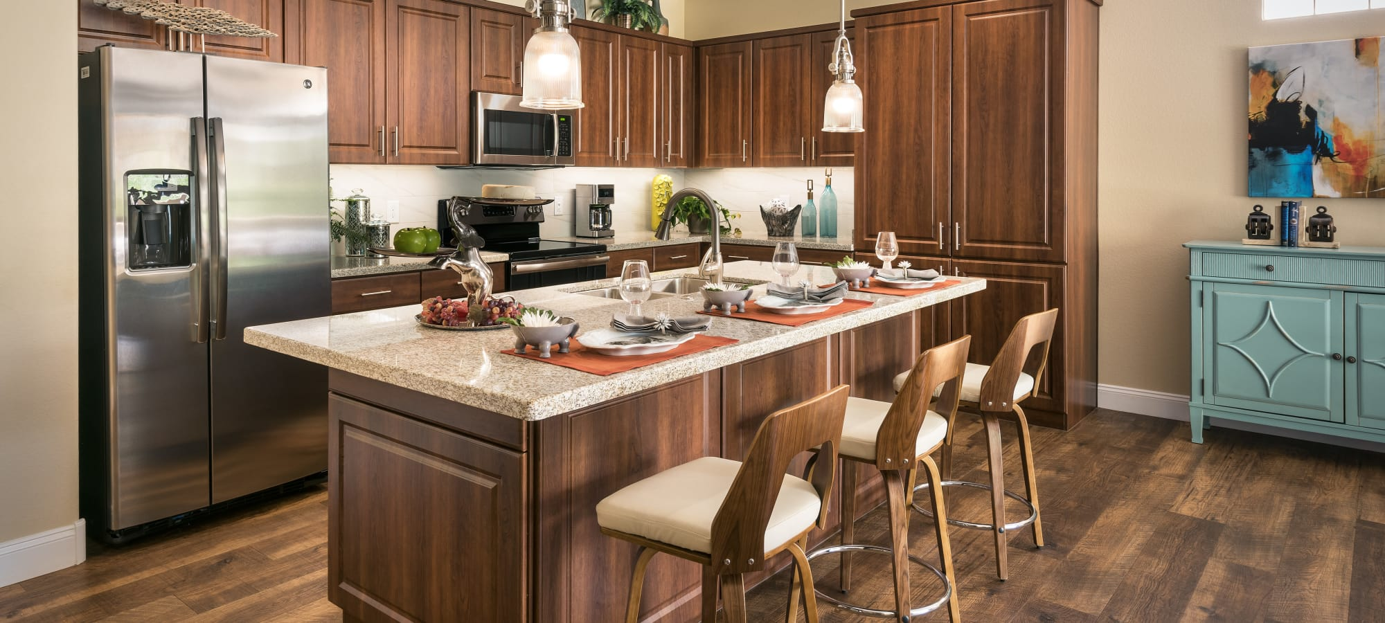 State-of-the-art kitchen with lovely island at San Portales in Scottsdale, Arizona
