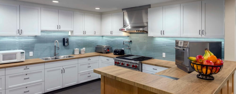 Kitchen in senior living apartment at The Springs at Clackamas Woods in Milwaukie, Oregon