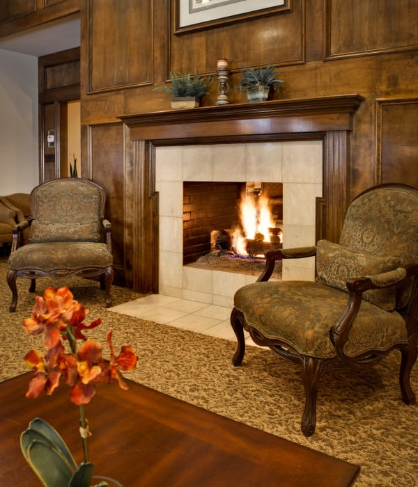 Read by the fire at Country Club At Woodland Hills in Tulsa