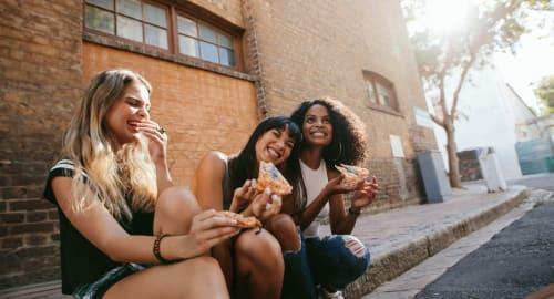 Friends hanging out at Berkshire Laurel Creek in Fairfield, California