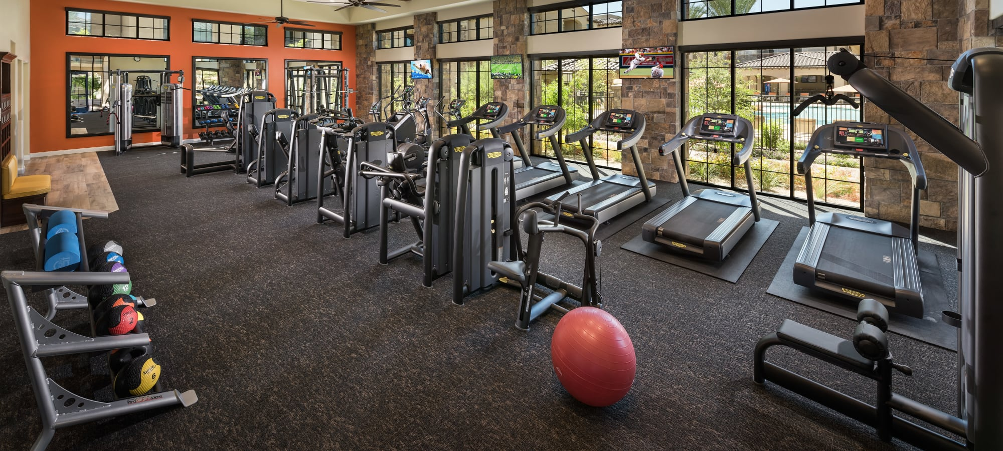 State-of-the-art fitness center with treadmills at San Portales in Scottsdale, Arizona