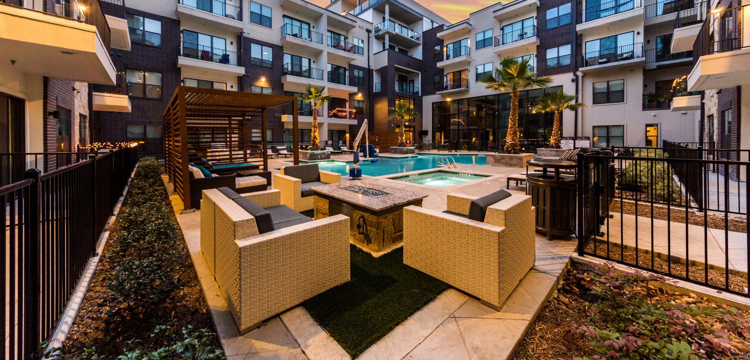 Resort-style poolside lounge at Marq 31 in Houston, Texas