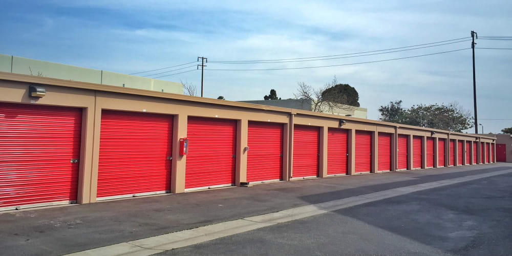 Outdoor storage units with drive-up access at StorQuest Self Storage in Oxnard, California