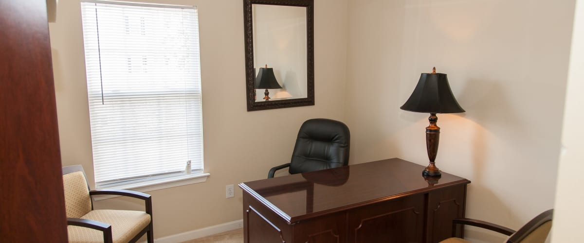 An office nook with a window at Peine Lakes in Wentzville, Missouri