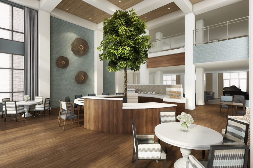 Dining room with a tree in the middle at Anthology of Novi - OPENING 2020 in Novi, Michigan
