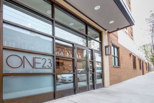Front entrance at ONE23 Apartments in Union City, New Jersey