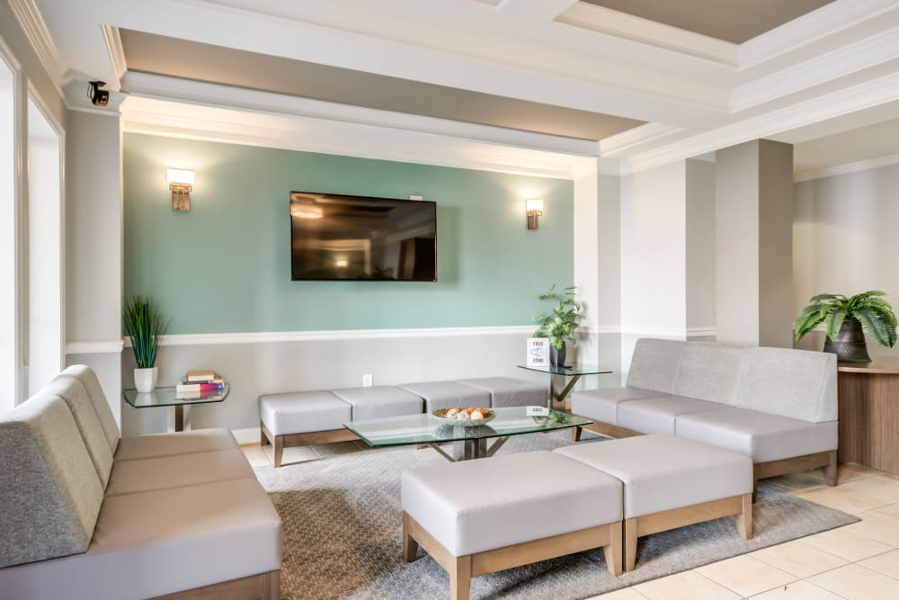 Expansive clubhouse with comfortable seating at Manassas Station Apartments in Manassas, Virginia