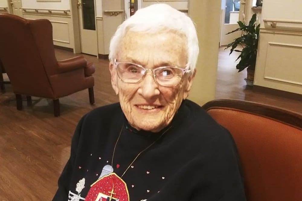 A happy resident at Brentwood at Hobart in Hobart, Indiana